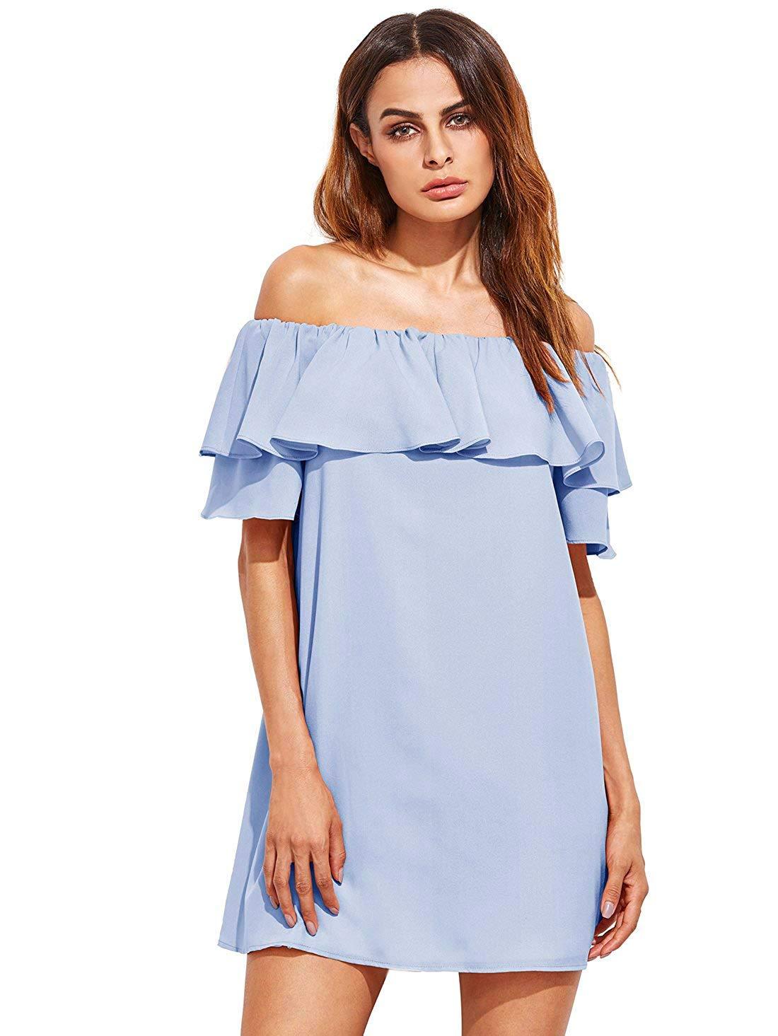 Available at Amazon: Milumia Women's Off Shoulder Ruffles Shift Loose Mini Dress