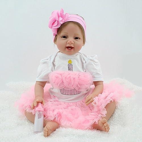 QXMEI 22 Zoll   55 cm Simulation Baby Puppe Wiedergeburt Puppe Spielzeug Glied Silikon Baumwolle   Kinder Spielzeug Geschenk