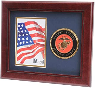 Allied Frame US Marine Corps Medallion Portrait Picture Frame - 4 x 6 Picture Opening