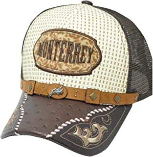 Rob'sTees El General Gorra Charra Monterrey Metal Emblem Woven Mexico Flag Palma Mesh Straw Trucker Cap Dad Hat