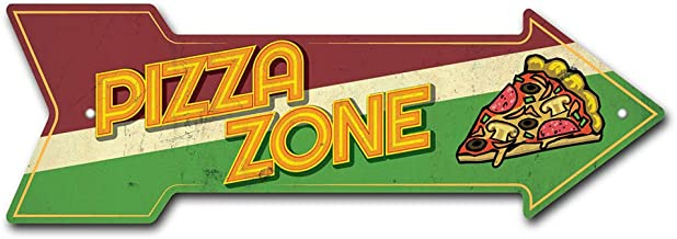 SignMission Pizza Zone Arrow Sign   Indoor/Outdoor   Direction Arrow Sign Funny Home Décor for Garages, Living Rooms, Bedroom, Offices Personalized Gift   18