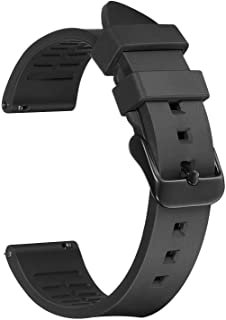 Afany Rubber Watch Band for Samsung Galaxy Watch 3 45mm/Galaxy Watch 46mm, 22mm Sport Replacement Bracelet Strap, Black, M...