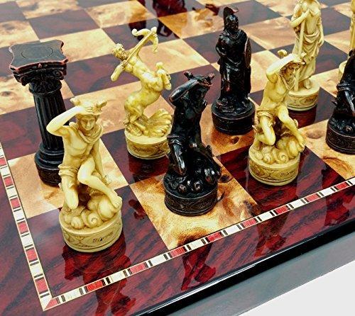 Greek Roman Mythology Gods Chess Set w/ 18' High Gloss Cherry & Burlwood Color Board