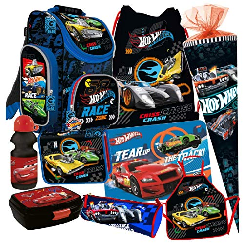 HOT Wheels Cars Autos 9 Teile Schulranzen RANZEN SCHULTÜTE TORNISTER Tasche Set mit Sticker von Kids4shop