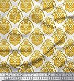 Soimoi Gold Kunstseide Stoff Vogel & orientalische Damast