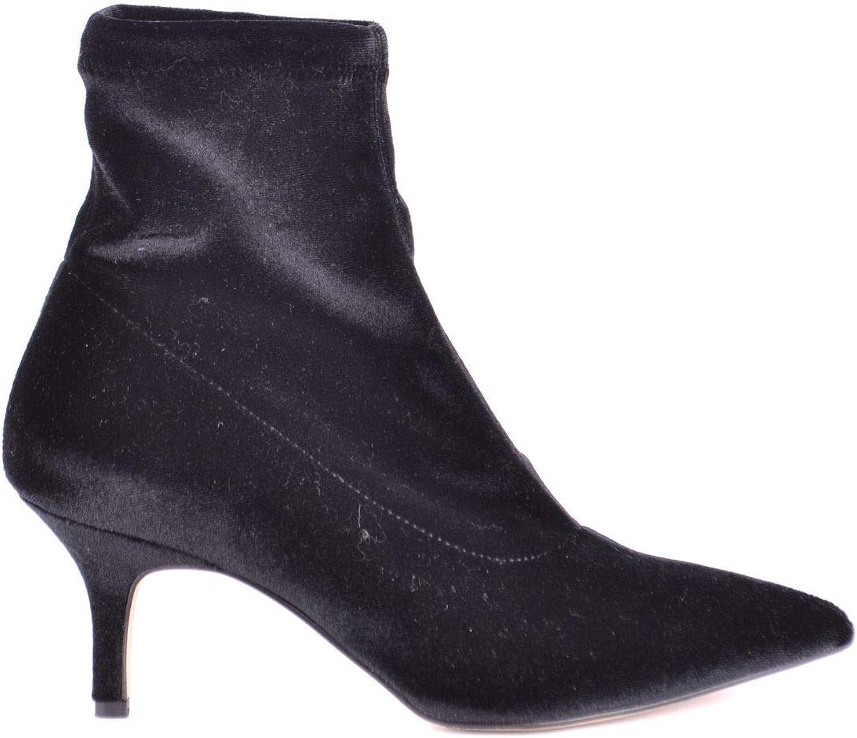 JIUDIT Women's MCBI33355 Black Velvet Ankle Boots