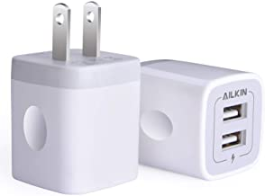 USB Wall Charger, Charger Adapter, AILKIN 2-Pack 2.1Amp Dual Port Quick Charger Plug Cube for iPhone SE/11 Pro Max/8/7/6S/6S Plus/6 Plus/6, Samsung Galaxy S7/S6/S5 Edge, LG, HTC, Huawei, Moto, Kindle