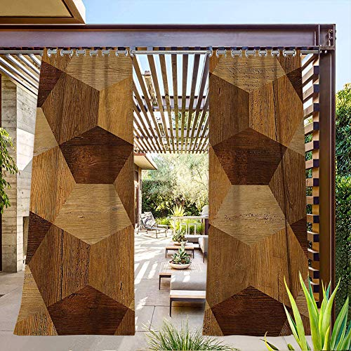 FOEYESEE Outside Curtains for Patio Abstract Parquet Flooring Wooden Rustic with Geometric Monochrome Pattern Brown Pale Brown Summer Heat Insulating 84x84 Inch