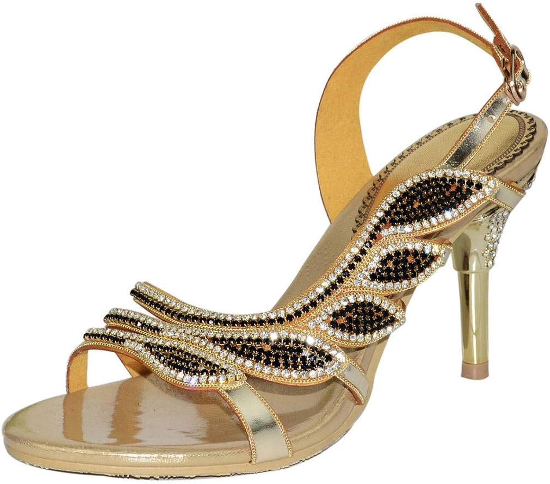 YooPrettyz Womens Embellished Evening Sandals High Heels Asymmetrical Dress Sandal