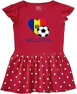 Love Soccer Heart Moldova Style 2 Taped Neck Girl Cotton Rib Dress