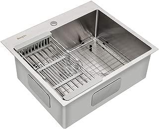 Bonnlo 25-inch 16 Gauge Drop-in/Topmount 304 Stainless Steel Kitchen Sink Single Bowl w/Strainer, Scratch Protector Grid & Adjustable Dish Tray