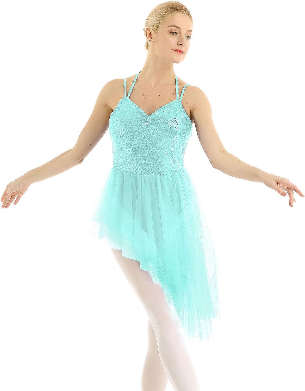 inlzdz Women's San Antonio Mall Halter Sequins Ballet Lyrical Dance Leotard Ultra-Cheap Deals Dress