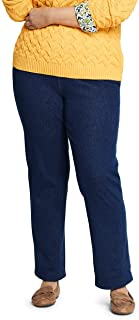 Lands' End Women's Plus Size Petite Sport Knit Denim High Rise Elastic Waist Pull On Pants