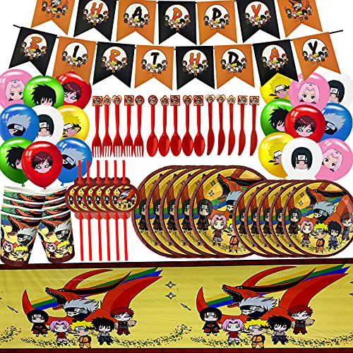 Anime Ninja Birthday Party Supplies, Anime Ninja Party Decorations, set of Anime Ninja Theme Party for Kids, Include -Banner, table cover, plates, paper cups, Straws, spoon, knives, fork, Balloons, Serves 10 Guest.