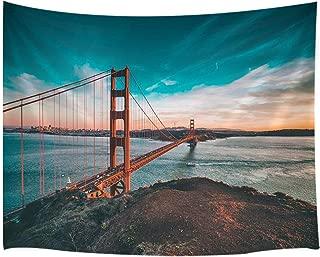 KOTOM Modern Home Decor Tapestry, Golden Gate Bridge San Francisco California Tapestries, Wall Art Hanging for Bedroom Living Room Dorm 71X60Inches Wall Blankets