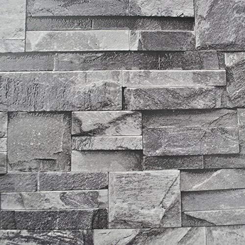 Tapete Küche 3D-Effekt Geprägt Ziegelstein Steintapete Vinyl Natürliche Braune Graue Ziegel Wand Papierrolle Schlafzimmer Abdeckung Wand B00301 Schwarz Grau Wandtattoo