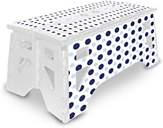 eXpace Folding Step Stool, 13-Inch Wide, Non-Slip for Indoor and Outdoor Use, Adults and Kids up to 350 lbs, Blue Polka Dots