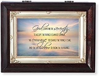 Roman Serenity Prayer Brown Insert Large Music Box Encouragement and Inspirational