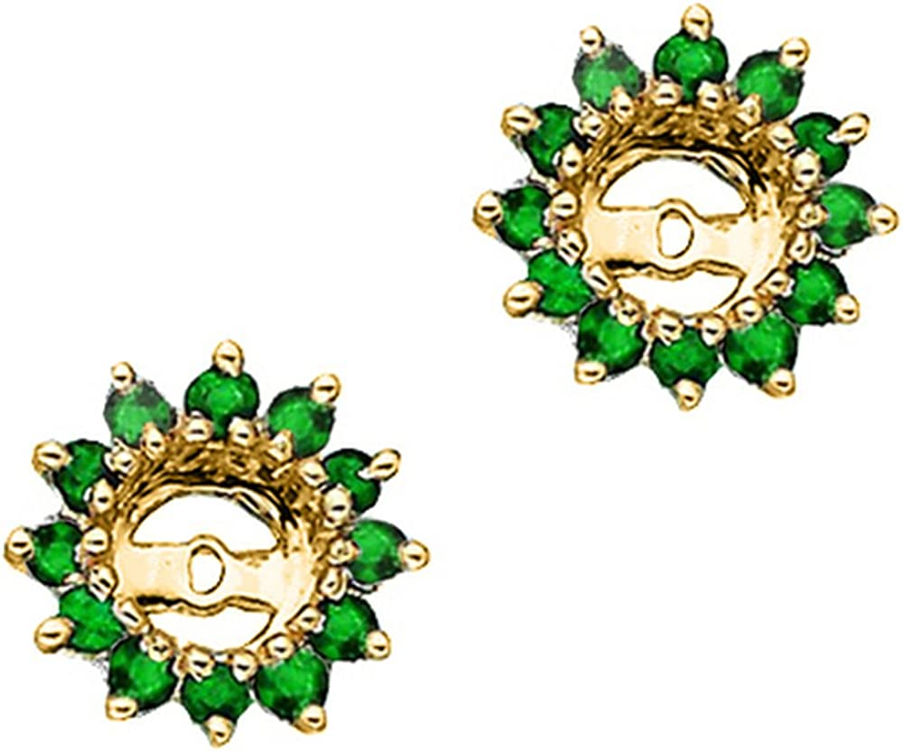 Classic 14K Yellow Gold 1 3 discount ct. 8 Earring Emerald Jackets