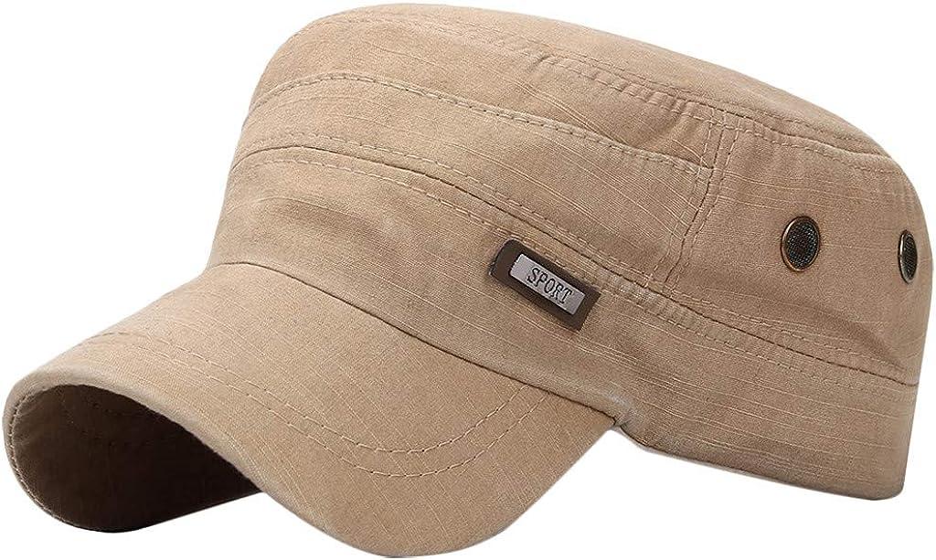 Men's Cotton Sport Army Cap Cadet Hat Vintage Military Flat Top Adjustable Baseball Sun Cap