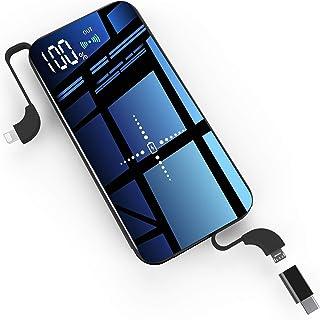 モバイルバッテリー 10000mAh 大容量 軽量 薄型 iphone Galaxy Xperia ワイヤレス充電 Qi ガラス画面 実効容量 急速充電 無線充電器 携帯充電器 モバイル バッテリー 【PSE認証済】 置くだけ充電 持ち運び 無線と有線両用 4台同時充電 iPad Pro / iPhone X / iPhone XS Max / iPhone XS / iPhone XR / iPhone8 / 8Plus / Galaxy Note9 / S9 / S9+ / S8 / S8 Plus / S7 edge / Sony Xperia XZ3 / XZ2 Premium 各種他QI対応 出張 地震防災 残量表示 黒