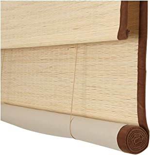 ZEMIN Bamboo Blind Roller Shades Venetian Carbonized Practical 2-Layer Edging Curtain Roll Up, 3 Colors, Multi-Size Custom (Color : C, Size : 130×250cm)