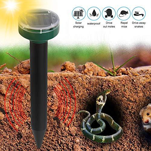 Tickas Anti-Taupe Solaire,Répulsif Solaire de Taupe, répulsif de marmotte à ultrasons et répulsif pour Animaux à énergie Solaire pour pelouse et Jardin à la Maison