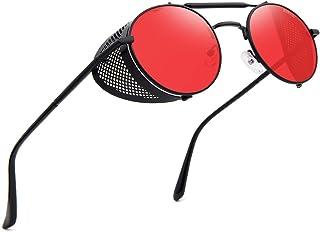 RONSOU Steampunk Sunglasses for Men Women Vintage Retro Round Metal Frame Eyewear Shades