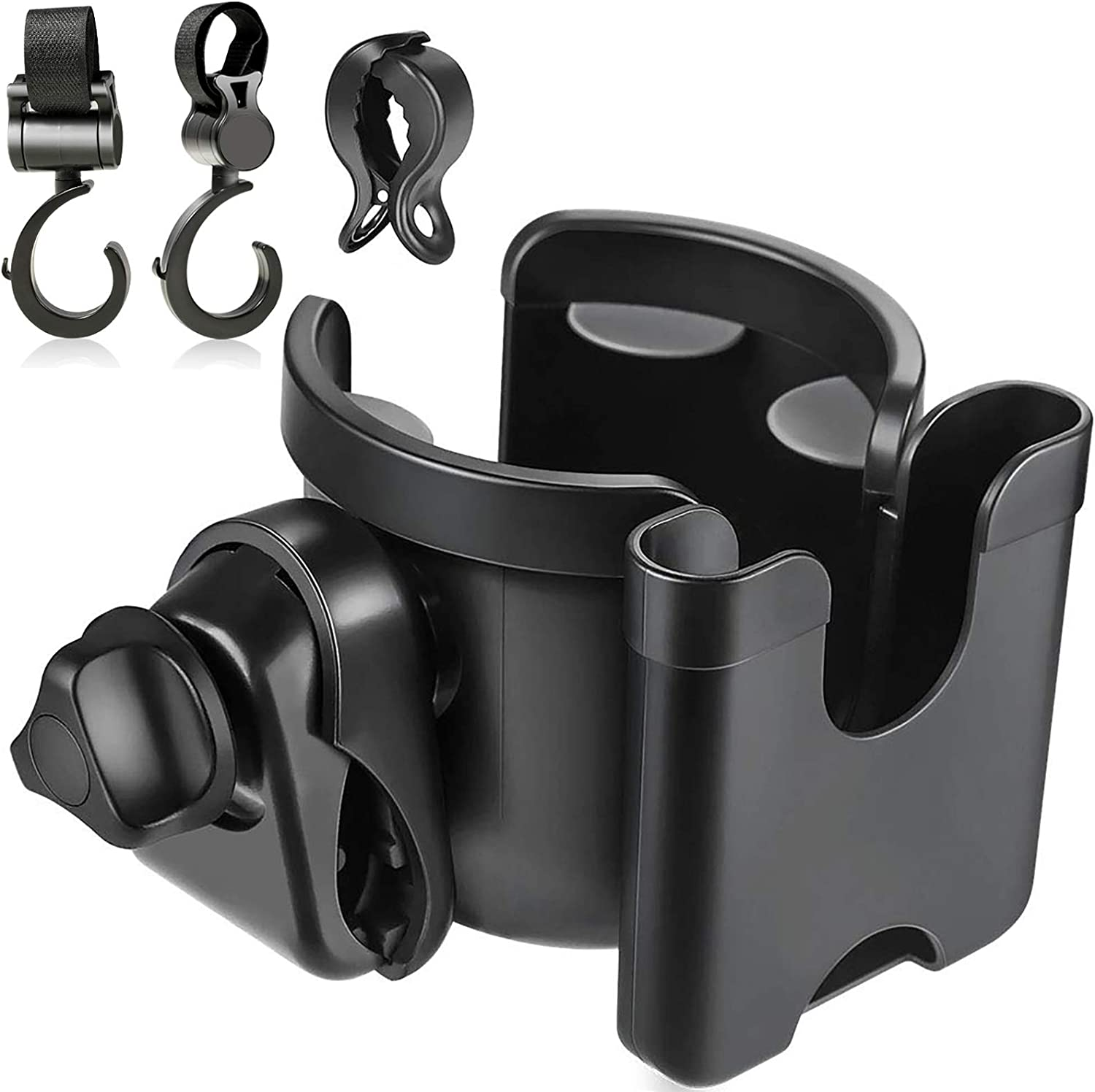 TOGOTTAI Stroller Cup Holder 2 in 1 Universal Bottle Phone Storage Rack with Clip and 2 Stroller Hooks Bottle Cup Holder for Stroller Bicycles