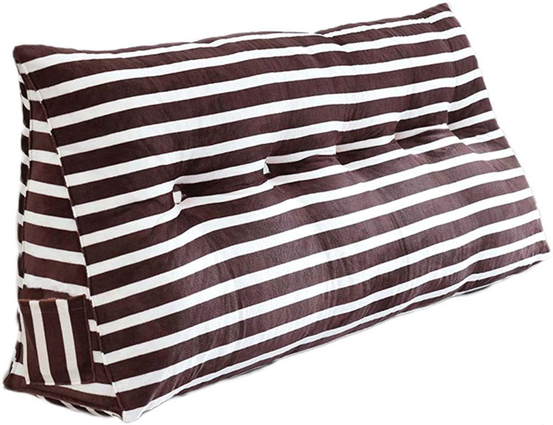 Cushion Soft Bag Triangle Bed Pillow Sofa Large Backrest Bed Backrest Detachable Lazy TV Reading Pillow 50  20  100CM (color   Brown, Size   50  20  100CM)