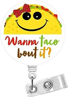 Wanna Taco Bout It Badge Reel with Bow - Id Badge Reel - Speech Language Pathologist Badge - Medical Badge Clip - SLP Gift - School Staff Badge - Speech Therapist Badge (Alligator Swivel Clip)