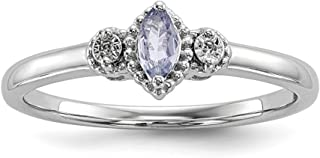 925 Sterling Silver Diamond Blue Tanzanite Band Ring Gemstone Fine Jewelry For Women Gift Set