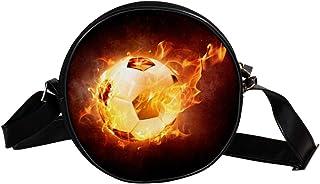 Coosun Umhängetasche für Kinder, Damen, Fußballball, Sport, Leder, Feuerwehr, runde Umhängetasche