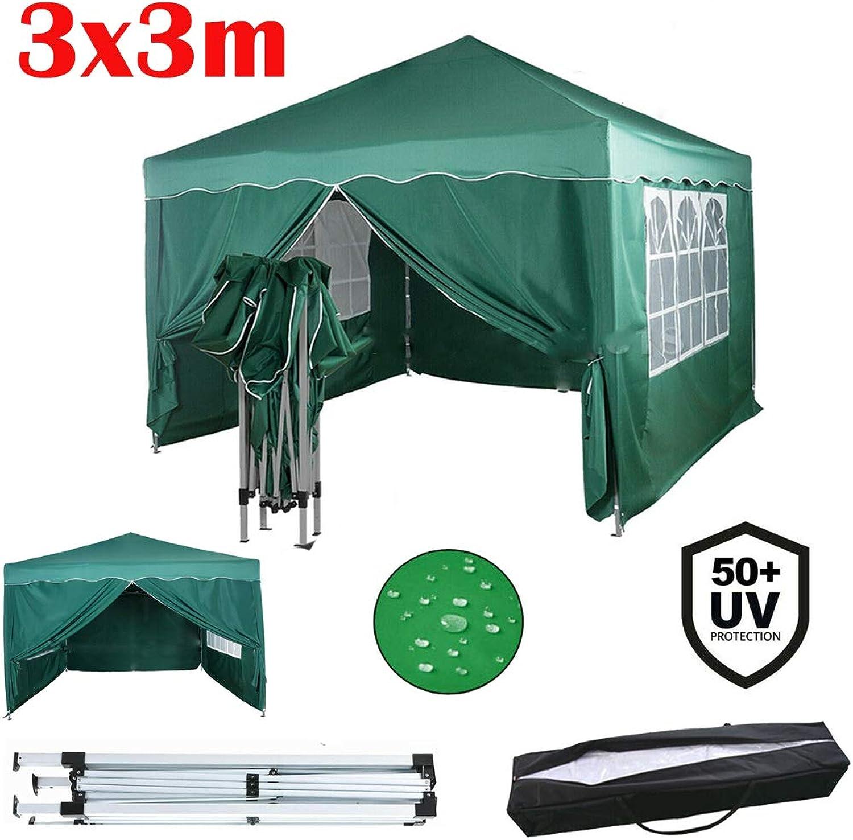 Yiyai Pop-Up Pavillon 3x3m mit Seitenwnden Wasserdicht und UV-Schutz 50+  Heavy Duty Stahlrahmen  Faltpavillon mit Tragetasche  Partyzelt Gartenzelt  Grün