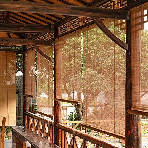 ZXXL Persiana Enrollables Bambú Persianas de Madera para Ventanas al Aire Libre con Gancho Cortinas Enrollables con Filtro de Luz de Bambú, Parasol de Protección UV para Pérgola/Balcón/Patio Trasero