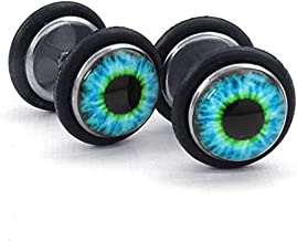 Mens Stainless Steel Evil Eye Stud Earrings, Blue Black (Blue)