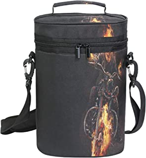 Wine Totes Travel Carrier Cooler Bag with Shoulder Strap Ghost Rider 2 Bottle Picnic Cooler Bag with Insulated Neoprene Leakproof Liner,Water Drinks Beer Lunch Bag for Grocery,Camping