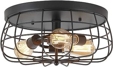 ZZ Joakoah Industrial 3-Light Rustic Semi Flush Mount Ceiling Light, Metal Cage Pendant Lighting Lamp Fixture for Kitchen Liv