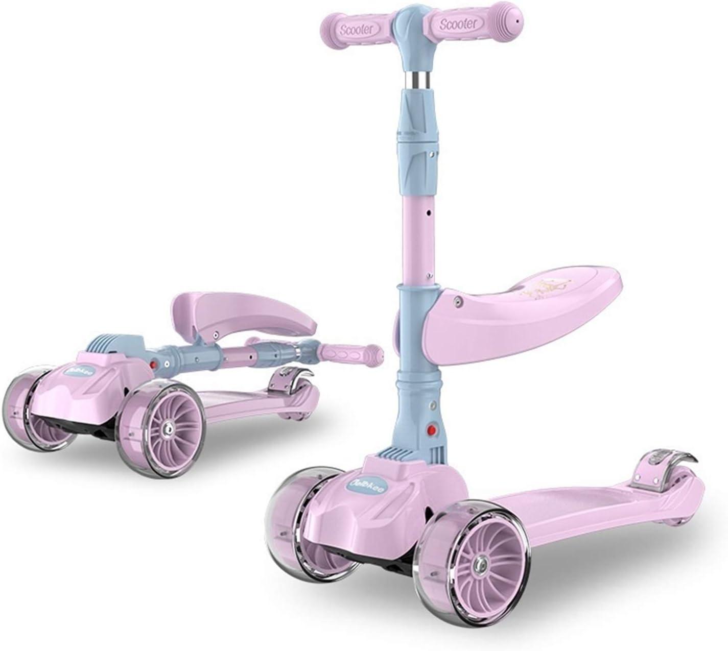 QEEN Plegable 3 Ruedas Kids Kick Scooter Kickboard con Asiento Edades 2~6 Paseo en niños en Toy Toddler Baby Walker Cumpleaños para niños Regalo (Color : Pink)