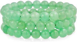 Unisex Stackable Set of 3 Gemstone Round Bead 8MM Stretch Bracelet for Women Teen Men Multi Strand Stacking Adjustable