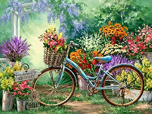 Fuumuui Kit de Pintura por Números Lienzo Digital para Manualidades DIY Lienzo Digital al óleo Regalo para Niños Estudiantes-Flower Bike 16 x 20 Pulgadas