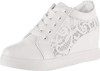 wealsex Baskets Compensées Femme PU Cuir Mesh Dentelle Sneaker Chaussures de Tennis