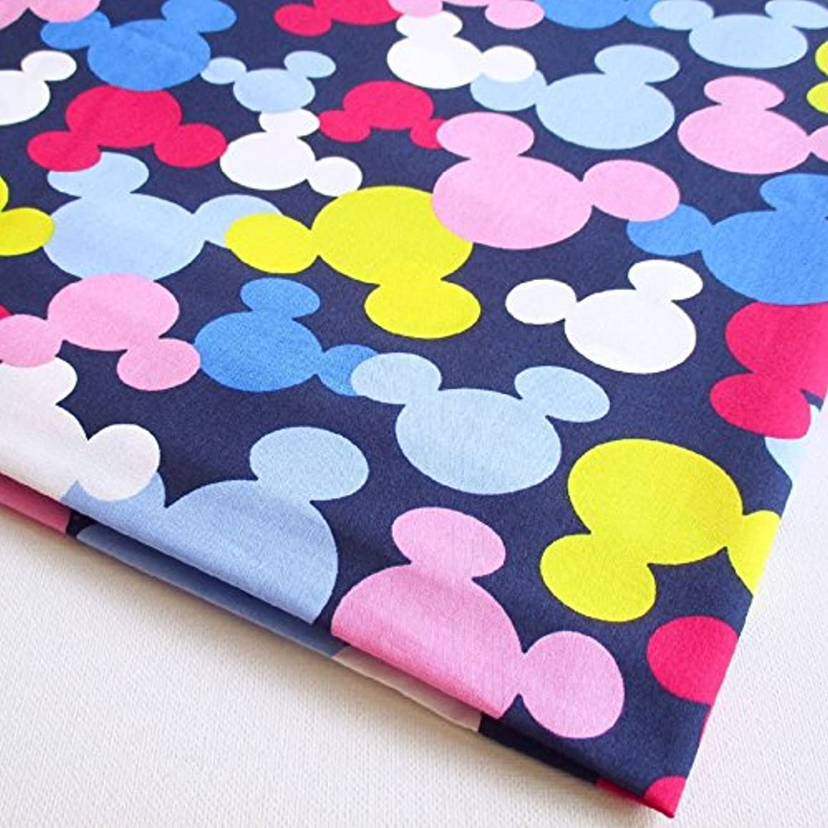 Mickey Mouse Minnie Mouse Style Cartoon Colorful Dark Blue Fabric 36 by 36-Inch Wide (1 Yard) (CT613)