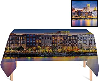 SATVSHOP Rectangular Tablecloth /70x132 Rectangular,Scenery European City Country Landscape Light Reflection to The Sea Harbor Image Photo for Wedding/Banquet/Restaurant.