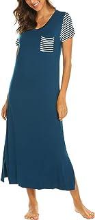 Hotouch Loungewear Women's Long Nightgown V-Neck Striped Short Sleeve Sleepshirts Dress