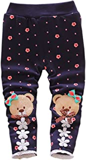XWDA Baby Girls Cute Bear Thicken Fleece Lined Pants Long Pants Winter Warm Trouser 6-24Months