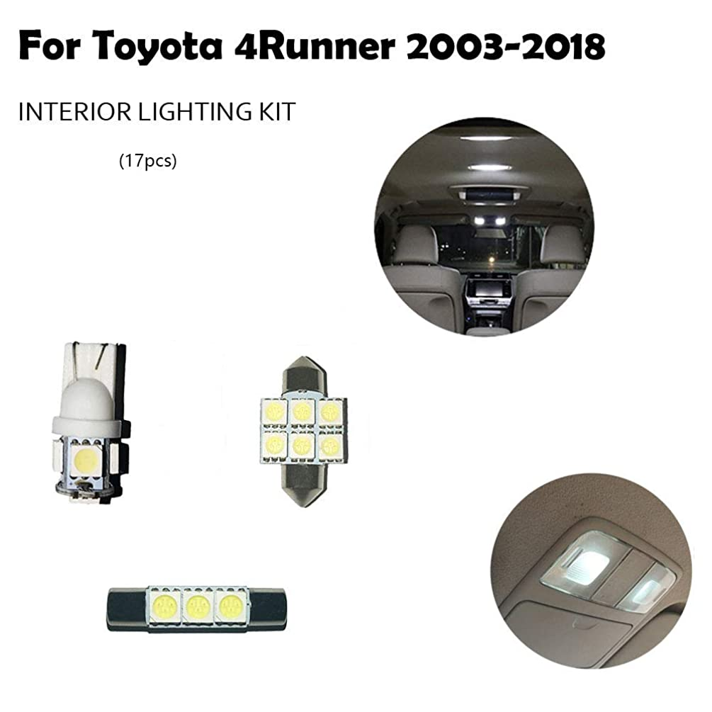 Car LED Interior Lights Accessories For Toyota 4Runner 2003-2018 Auto Dome Light Bulbs Automotive Lighting Replacement Package Kit (17 Bulbs), WHITE