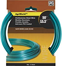 AgriWorld 50-Feet Steel Thick Strong Anti Rust Green Wire PVC Coated for Outdoor Laundry Washing Hanging Cloth Line (Pack of 1)
