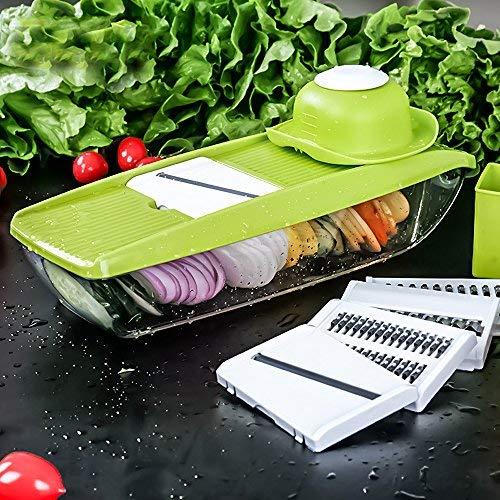 Mandolini da Cucina, Gesundhome 5 in 1 Multifunzione Affettaverdure con 5 Lame in Acciaio Inox Intercambiabili Affettatrice Grattugia Vegetale e Frutta per Cibi Verdure Frutta