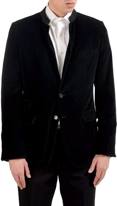 Dolce free Gabbana Men's Max 64% OFF Black Velour Coat Blazer Button Sport Two